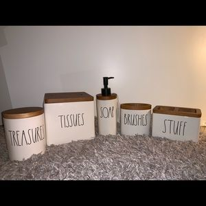 Rae Dunn Bathroom Set with Wooden Accents